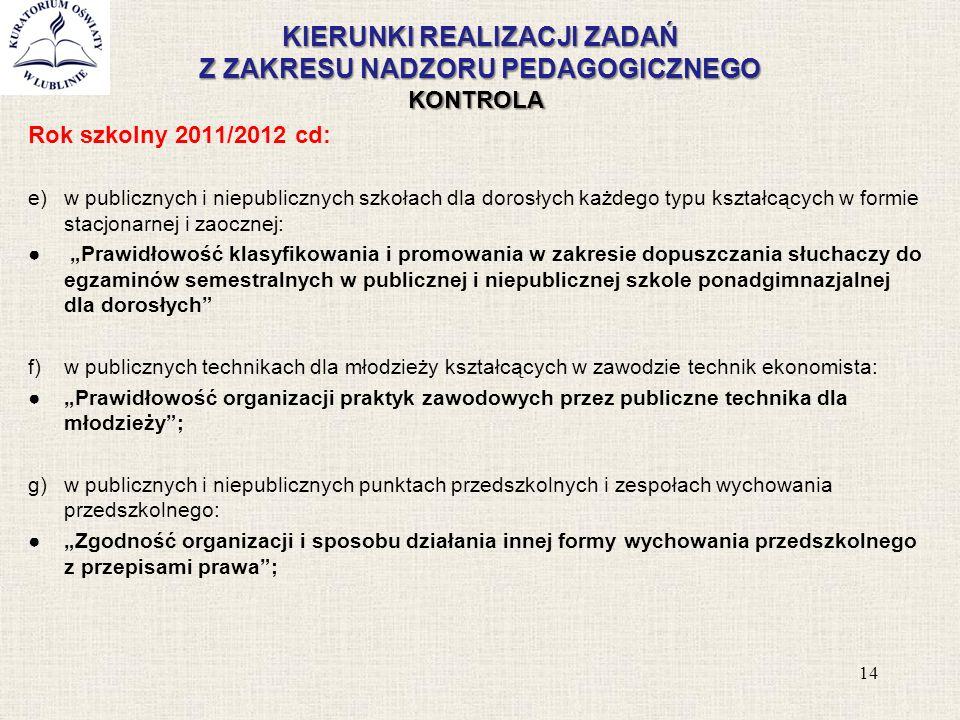 KIERUNKI REALIZACJI ZADAŃ Z ZAKRESU NADZORU PEDAGOGICZNEGO KONTROLA Rok szkolny 2011/2012 cd: e)w publicznych i niepublicznych szkołach dla dorosłych