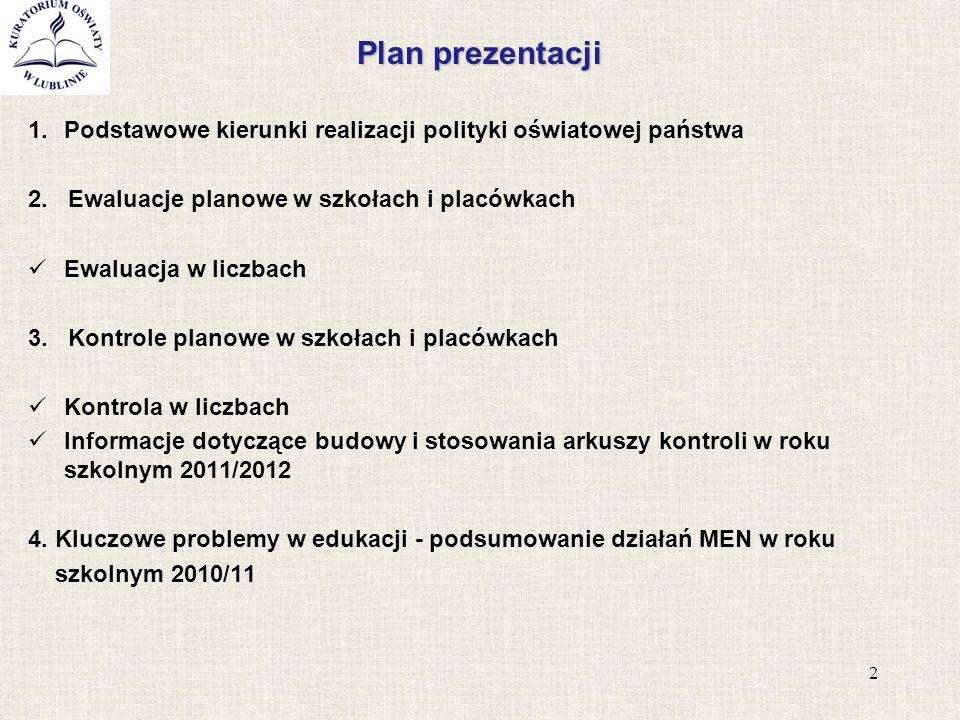 Plan prezentacji 1.Podstawowe kierunki realizacji polityki oświatowej państwa 2. Ewaluacje planowe w szkołach i placówkach Ewaluacja w liczbach 3. Kon