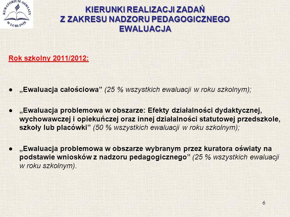 """KIERUNKI REALIZACJI ZADAŃ Z ZAKRESU NADZORU PEDAGOGICZNEGO EWALUACJA Rok szkolny 2011/2012: ●""""Ewaluacja całościowa"""" (25 % wszystkich ewaluacji w roku"""