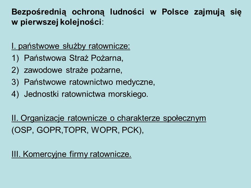W dalszej kolejności ochroną ludności zajmują się służby i inspekcje ochrony bezpieczeństwa i porządku publicznego, jak: 1)Policja; 2)Inspekcja ochrony środowiska; 3)Inspekcja sanitarna; 4)Straże Gminne (Miejskie); 5)Służba Ochrony Kolei; 6)Prywatne agencje ochrony.