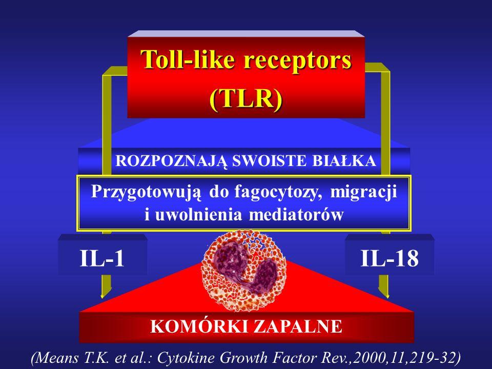 KOMÓRKI ZAPALNE ROZPOZNAJĄ SWOISTE BIAŁKA Toll-like receptors (TLR) Przygotowują do fagocytozy, migracji i uwolnienia mediatorów IL-1IL-18 (Means T.K.