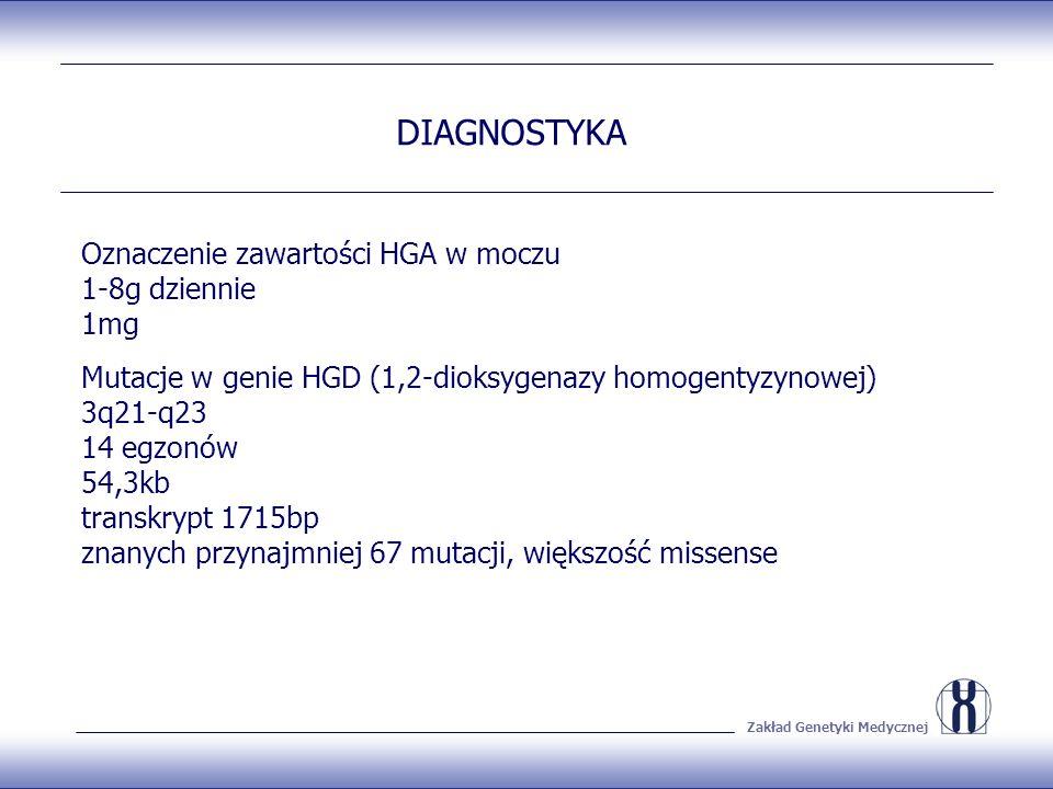 Zakład Genetyki Medycznej DIAGNOSTYKA Oznaczenie zawartości HGA w moczu 1-8g dziennie 1mg Mutacje w genie HGD (1,2-dioksygenazy homogentyzynowej) 3q21-q23 14 egzonów 54,3kb transkrypt 1715bp znanych przynajmniej 67 mutacji, większość missense