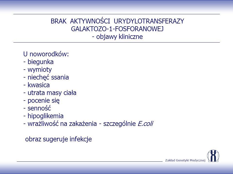 Zakład Genetyki Medycznej BRAK AKTYWNOŚCI URYDYLOTRANSFERAZY GALAKTOZO-1-FOSFORANOWEJ - objawy kliniczne U noworodków: - biegunka - wymioty - niechęć ssania - kwasica - utrata masy ciała - pocenie się - senność - hipoglikemia - wrażliwość na zakażenia - szczególnie E.coli obraz sugeruje infekcje