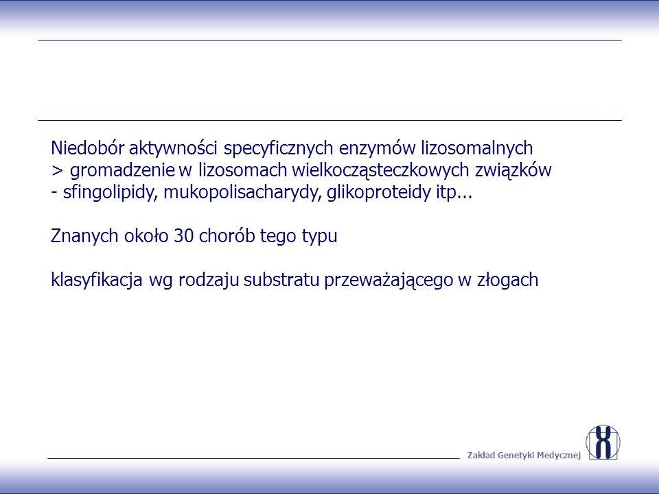 Zakład Genetyki Medycznej Niedobór aktywności specyficznych enzymów lizosomalnych > gromadzenie w lizosomach wielkocząsteczkowych związków - sfingolipidy, mukopolisacharydy, glikoproteidy itp...