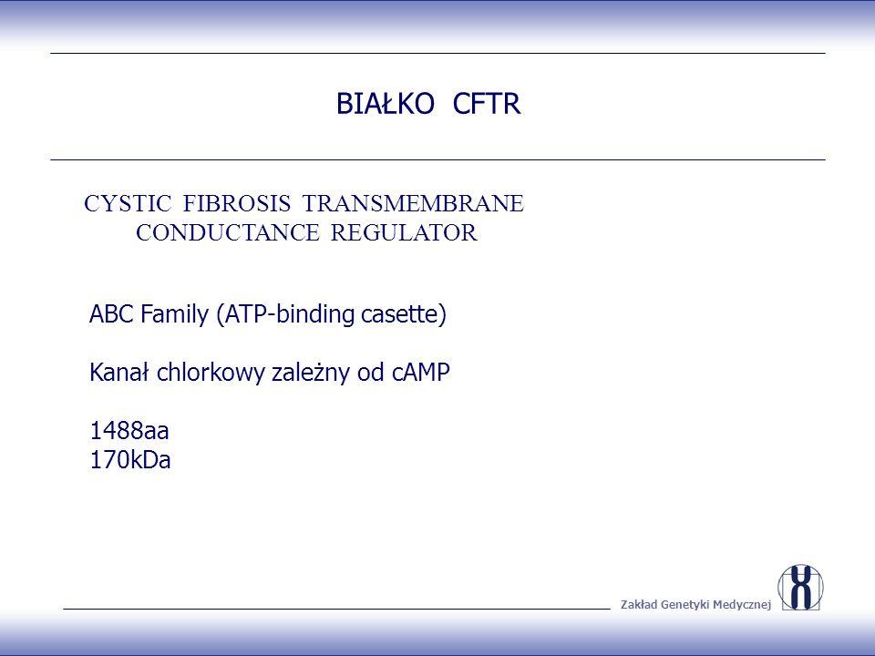 Zakład Genetyki Medycznej BIAŁKO CFTR ABC Family (ATP-binding casette) Kanał chlorkowy zależny od cAMP 1488aa 170kDa CYSTIC FIBROSIS TRANSMEMBRANE CONDUCTANCE REGULATOR