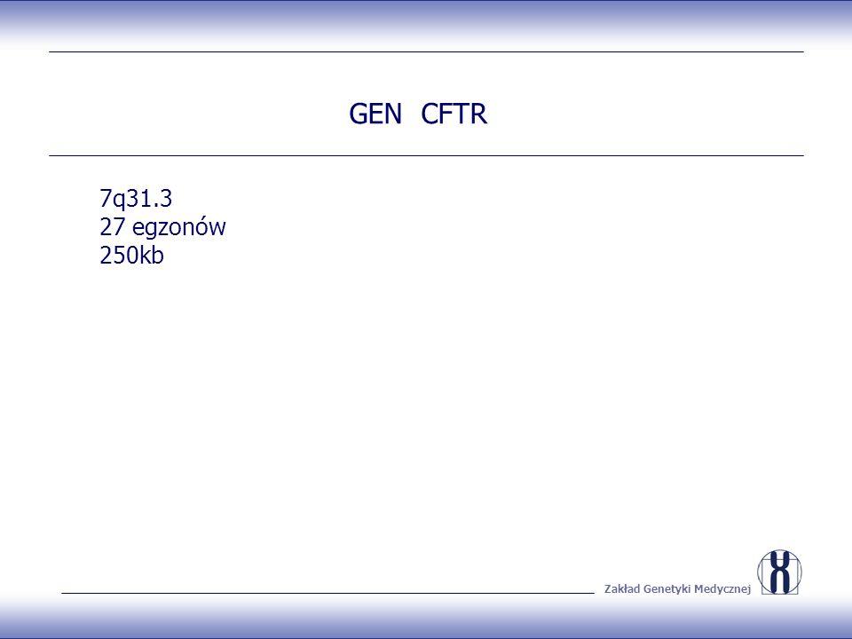 Zakład Genetyki Medycznej GEN CFTR 7q31.3 27 egzonów 250kb