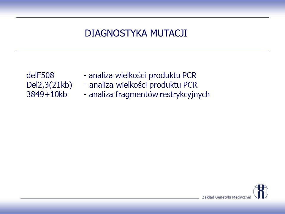 Zakład Genetyki Medycznej DIAGNOSTYKA MUTACJI delF508 - analiza wielkości produktu PCR Del2,3(21kb) - analiza wielkości produktu PCR 3849+10kb - analiza fragmentów restrykcyjnych