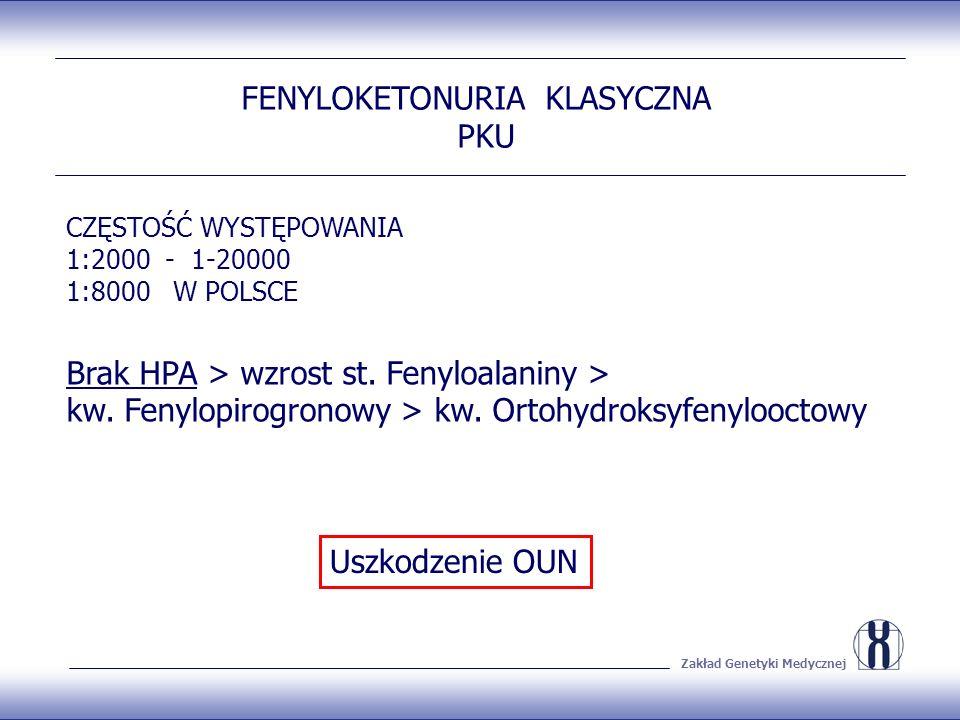 Zakład Genetyki Medycznej FENYLOKETONURIA KLASYCZNA PKU CZĘSTOŚĆ WYSTĘPOWANIA 1:2000 - 1-20000 1:8000 W POLSCE Brak HPA > wzrost st.