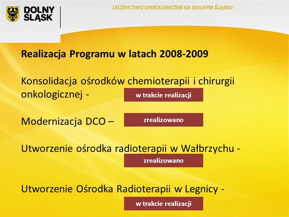 Realizacja Programu w latach 2008-2009 Konsolidacja ośrodków chemioterapii i chirurgii onkologicznej - Modernizacja DCO – Utworzenie ośrodka radioterapii w Wałbrzychu - Utworzenie Ośrodka Radioterapii w Legnicy - w trakcie realizacji zrealizowano w trakcie realizacji