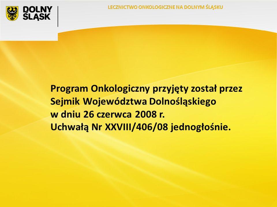 Program Onkologiczny przyjęty został przez Sejmik Województwa Dolnośląskiego w dniu 26 czerwca 2008 r.