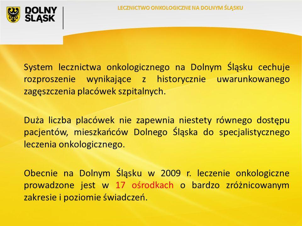System lecznictwa onkologicznego na Dolnym Śląsku cechuje rozproszenie wynikające z historycznie uwarunkowanego zagęszczenia placówek szpitalnych.