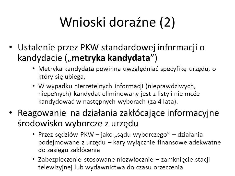 """Wnioski doraźne (2) Ustalenie przez PKW standardowej informacji o kandydacie (""""metryka kandydata ) Metryka kandydata powinna uwzględniać specyfikę urzędu, o który się ubiega, W wypadku nierzetelnych informacji (nieprawdziwych, niepełnych) kandydat eliminowany jest z listy i nie może kandydować w następnych wyborach (za 4 lata)."""