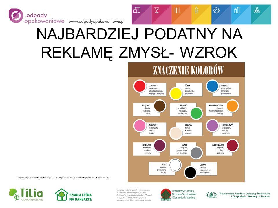 NAJBARDZIEJ PODATNY NA REKLAMĘ ZMYSŁ- WZROK httpwww.psychologiawygladu.pl201505symbolika-kolorow-w-zyciu-codziennym.html