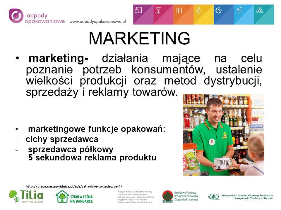 MARKETING marketing- działania mające na celu poznanie potrzeb konsumentów, ustalenie wielkości produkcji oraz metod dystrybucji, sprzedaży i reklamy towarów.