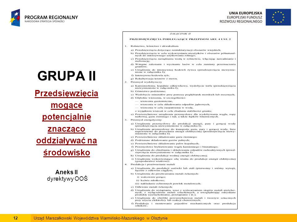 12Urząd Marszałkowski Województwa Warmińsko-Mazurskiego w Olsztynie GRUPA II Przedsięwzięcia mogące potencjalnie znacząco oddziaływać na środowisko Aneks II dyrektywy OOŚ