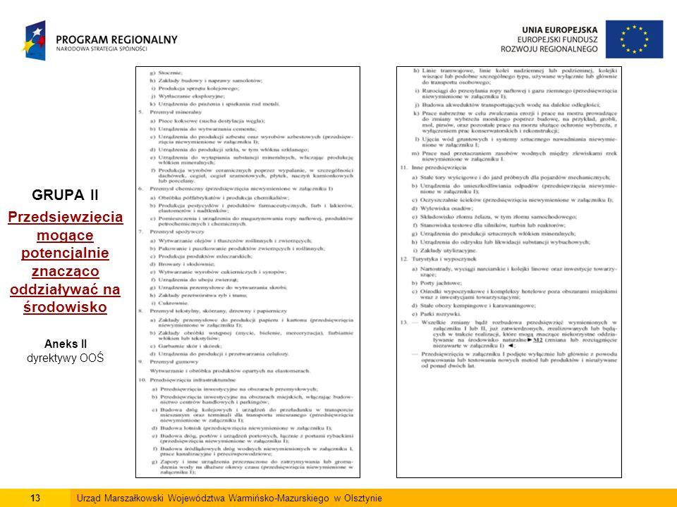 13Urząd Marszałkowski Województwa Warmińsko-Mazurskiego w Olsztynie GRUPA II Przedsięwzięcia mogące potencjalnie znacząco oddziaływać na środowisko Aneks II dyrektywy OOŚ