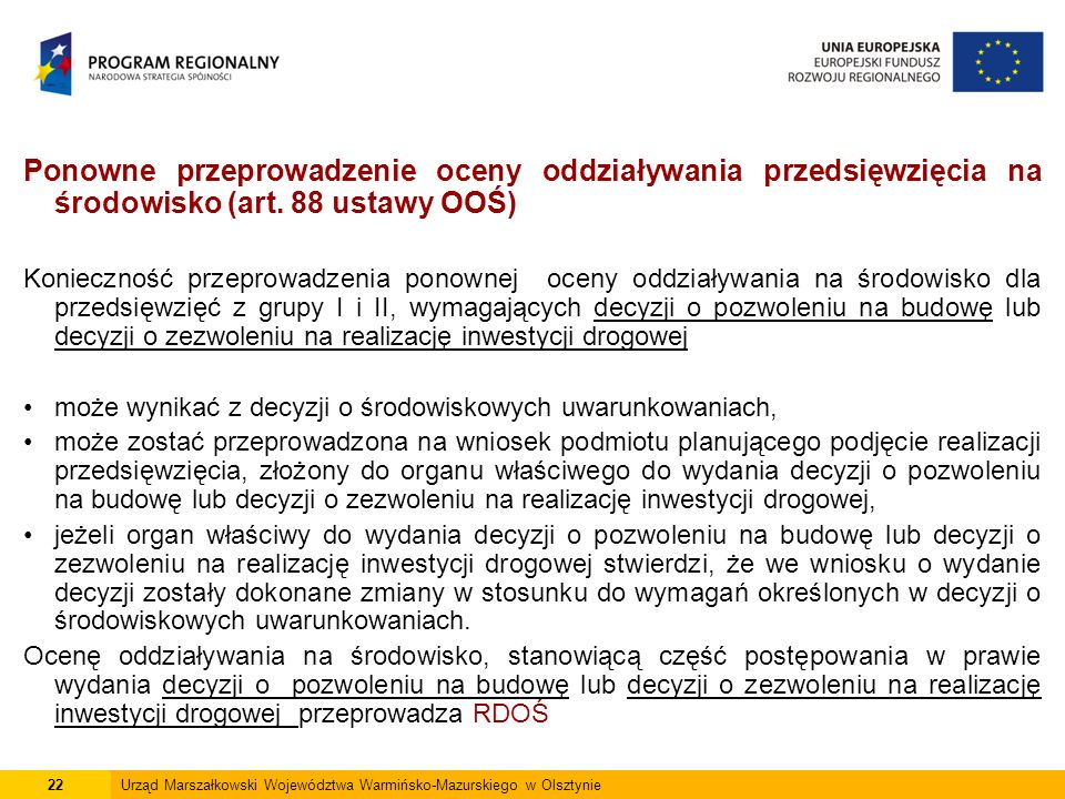 Ponowne przeprowadzenie oceny oddziaływania przedsięwzięcia na środowisko (art.