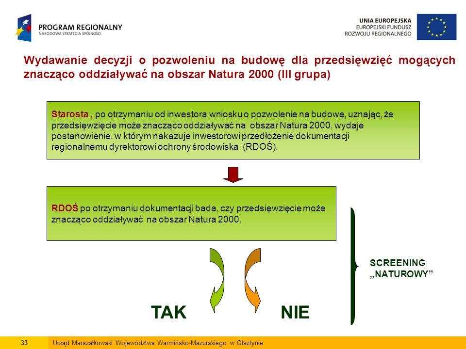 33Urząd Marszałkowski Województwa Warmińsko-Mazurskiego w Olsztynie Wydawanie decyzji o pozwoleniu na budowę dla przedsięwzięć mogących znacząco oddziaływać na obszar Natura 2000 (III grupa) Starosta, po otrzymaniu od inwestora wniosku o pozwolenie na budowę, uznając, że przedsięwzięcie może znacząco oddziaływać na obszar Natura 2000, wydaje postanowienie, w którym nakazuje inwestorowi przedłożenie dokumentacji regionalnemu dyrektorowi ochrony środowiska (RDOŚ).