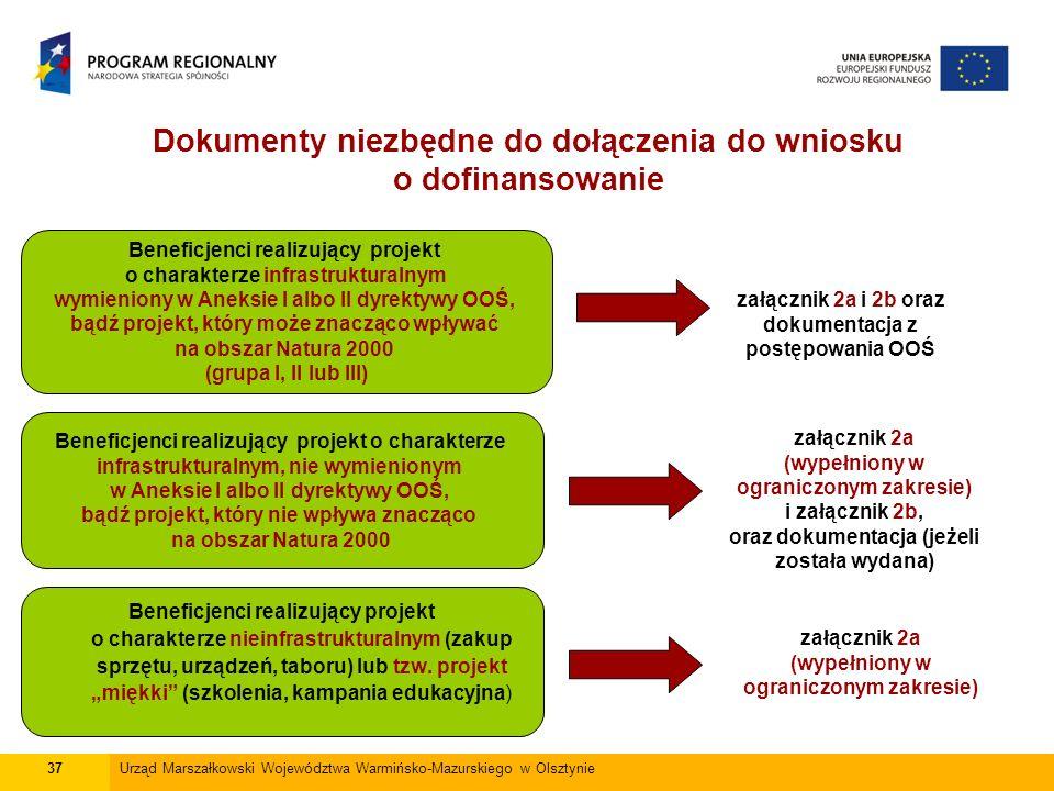 Dokumenty niezbędne do dołączenia do wniosku o dofinansowanie 37Urząd Marszałkowski Województwa Warmińsko-Mazurskiego w Olsztynie Beneficjenci realizujący projekt o charakterze infrastrukturalnym wymieniony w Aneksie I albo II dyrektywy OOŚ, bądź projekt, który może znacząco wpływać na obszar Natura 2000 (grupa I, II lub III) Beneficjenci realizujący projekt o charakterze nieinfrastrukturalnym (zakup sprzętu, urządzeń, taboru) lub tzw.