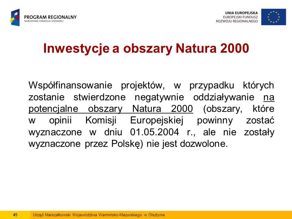 Inwestycje a obszary Natura 2000 Współfinansowanie projektów, w przypadku których zostanie stwierdzone negatywnie oddziaływanie na potencjalne obszary Natura 2000 (obszary, które w opinii Komisji Europejskiej powinny zostać wyznaczone w dniu 01.05.2004 r., ale nie zostały wyznaczone przez Polskę) nie jest dozwolone.