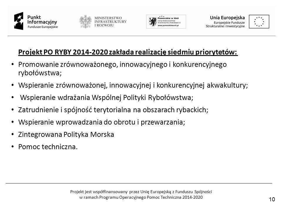 Projekt jest współfinansowany przez Unię Europejską z Funduszu Spójności w ramach Programu Operacyjnego Pomoc Techniczna 2014-2020 Projekt PO RYBY 2014-2020 zakłada realizację siedmiu priorytetów: Promowanie zrównoważonego, innowacyjnego i konkurencyjnego rybołówstwa; Wspieranie zrównoważonej, innowacyjnej i konkurencyjnej akwakultury; Wspieranie wdrażania Wspólnej Polityki Rybołówstwa; Zatrudnienie i spójność terytorialna na obszarach rybackich; Wspieranie wprowadzania do obrotu i przewarzania; Zintegrowana Polityka Morska Pomoc techniczna.