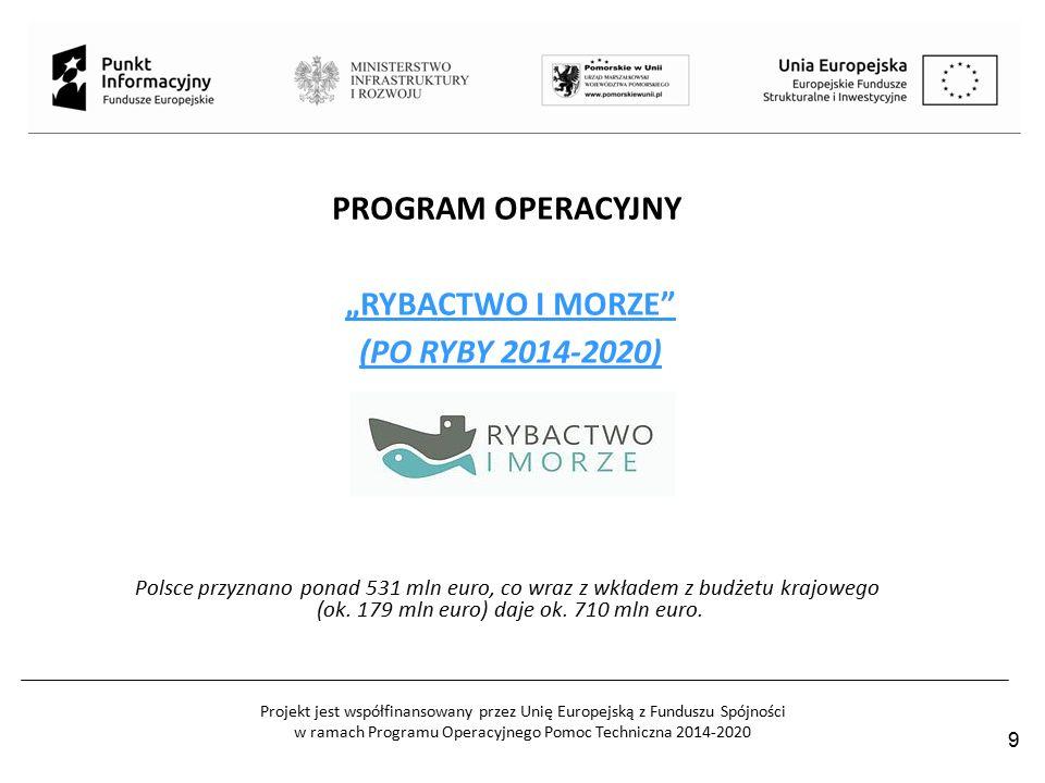 """Projekt jest współfinansowany przez Unię Europejską z Funduszu Spójności w ramach Programu Operacyjnego Pomoc Techniczna 2014-2020 PROGRAM OPERACYJNY """"RYBACTWO I MORZE (PO RYBY 2014-2020) Polsce przyznano ponad 531 mln euro, co wraz z wkładem z budżetu krajowego (ok."""