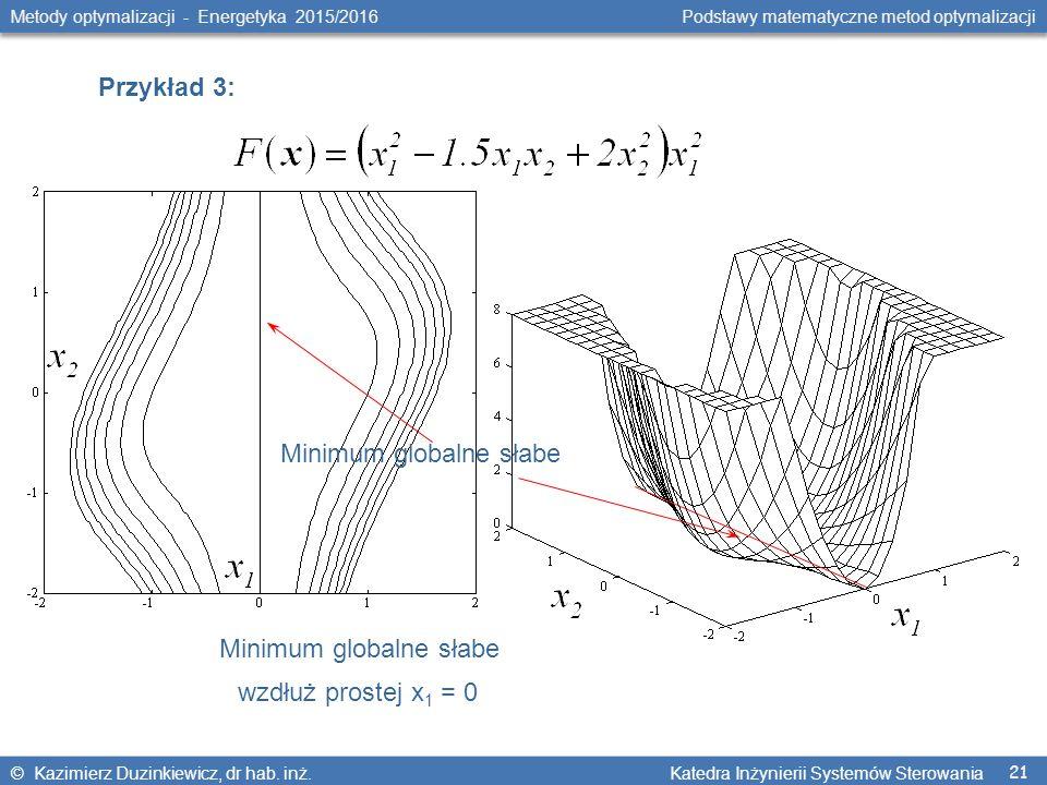 21 Metody optymalizacji - Energetyka 2015/2016 Podstawy matematyczne metod optymalizacji © Kazimierz Duzinkiewicz, dr hab. inż. Katedra Inżynierii Sys
