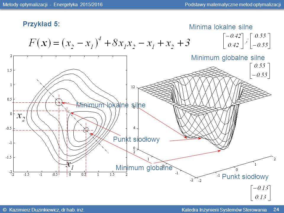 24 Metody optymalizacji - Energetyka 2015/2016 Podstawy matematyczne metod optymalizacji © Kazimierz Duzinkiewicz, dr hab. inż. Katedra Inżynierii Sys