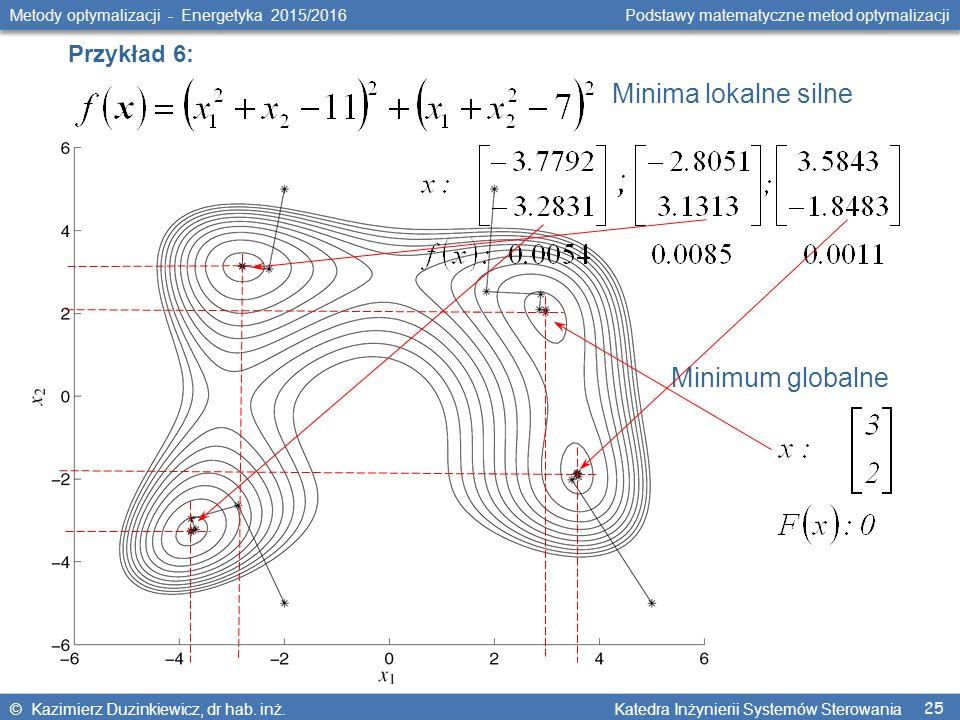 25 Metody optymalizacji - Energetyka 2015/2016 Podstawy matematyczne metod optymalizacji © Kazimierz Duzinkiewicz, dr hab.