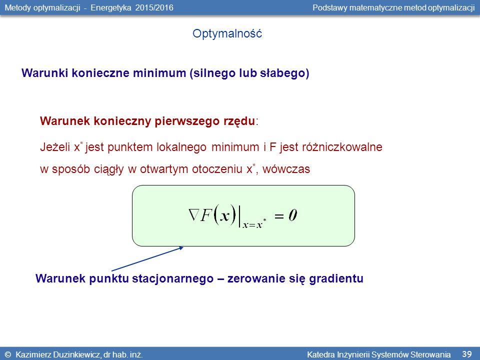 39 Metody optymalizacji - Energetyka 2015/2016 Podstawy matematyczne metod optymalizacji © Kazimierz Duzinkiewicz, dr hab.