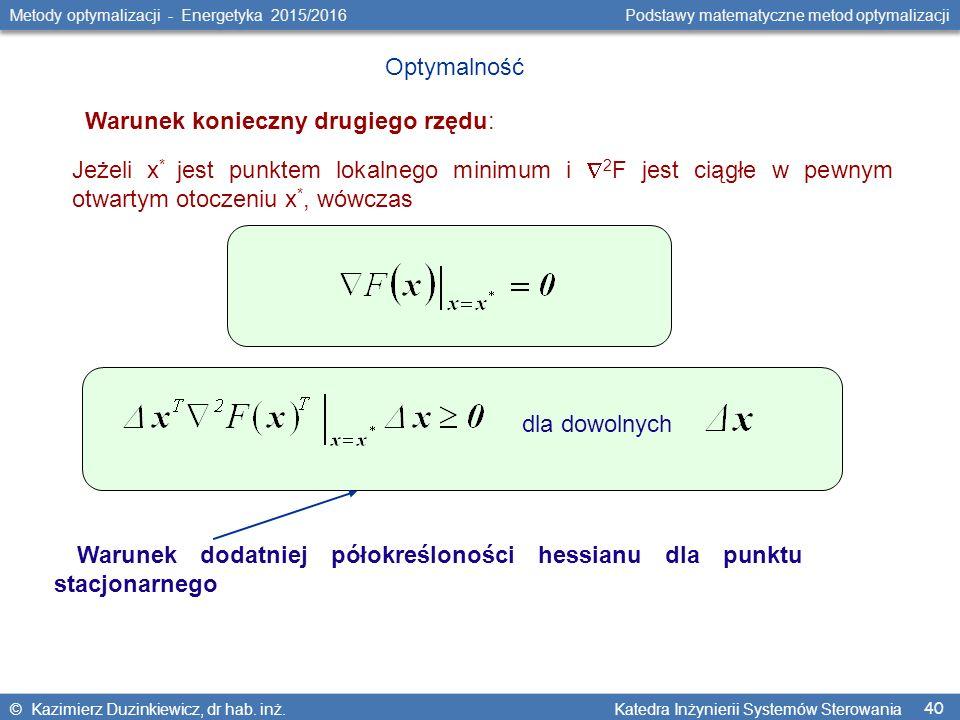 40 Metody optymalizacji - Energetyka 2015/2016 Podstawy matematyczne metod optymalizacji © Kazimierz Duzinkiewicz, dr hab.