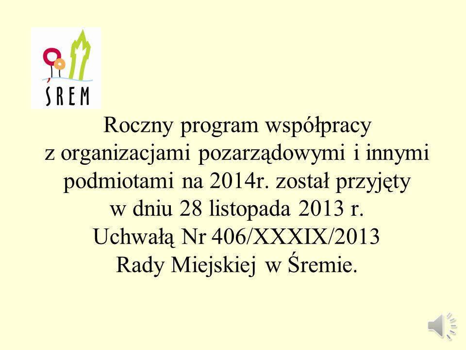 Sprawozdanie z realizacji rocznego programu współpracy z organizacjami pozarządowymi oraz innymi podmiotami w gminie Śrem w 2014 roku VII Sesja Rady M