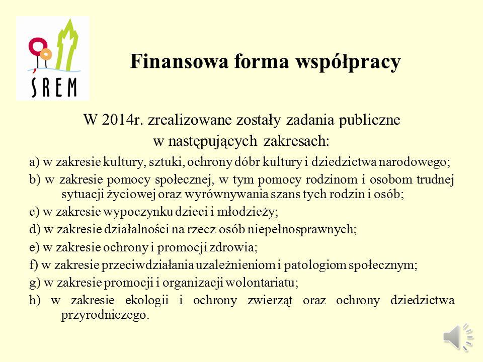 Finansowa forma współpracy W 2014r.