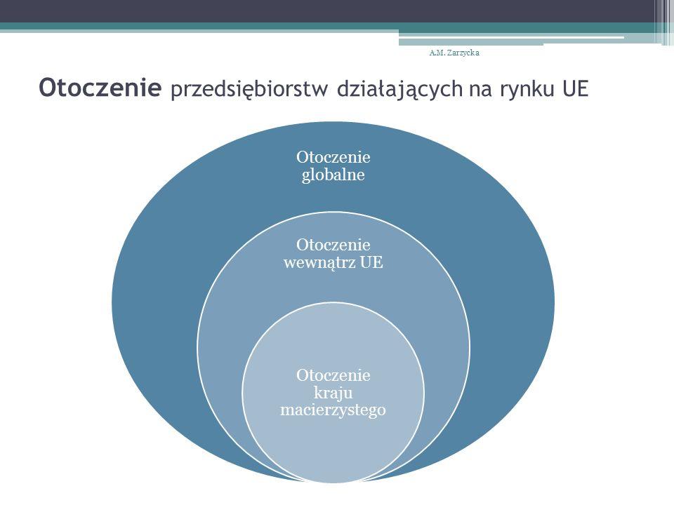 Otoczenie przedsiębiorstw działających na rynku UE Otoczenie globalne Otoczenie wewnątrz UE Otoczenie kraju macierzystego A.M.