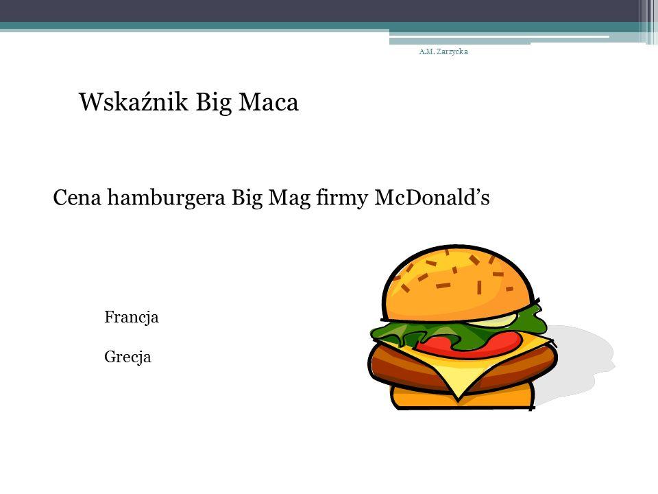 A.M. Zarzycka Wskaźnik Big Maca Cena hamburgera Big Mag firmy McDonald's Francja Grecja