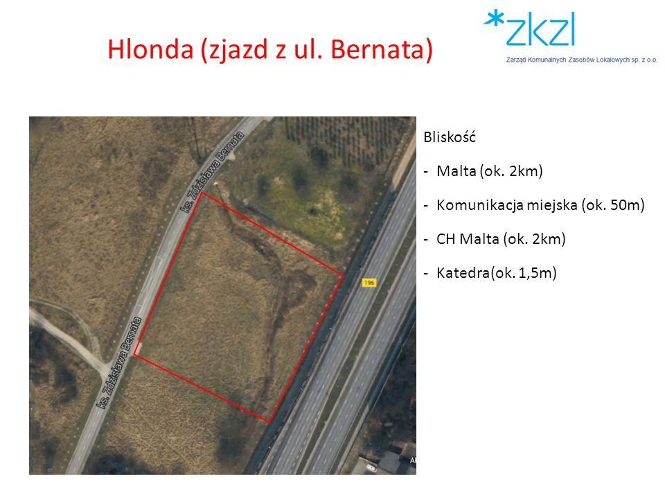 Bliskość -Malta (ok. 2km) -Komunikacja miejska (ok. 50m) -CH Malta (ok. 2km) -Katedra(ok. 1,5m) Hlonda (zjazd z ul. Bernata)