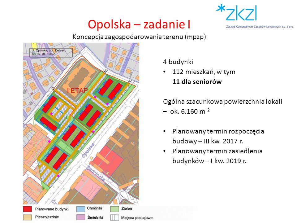 Opolska – zadanie I Koncepcja zagospodarowania terenu (mpzp) 4 budynki 112 mieszkań, w tym 11 dla seniorów Ogólna szacunkowa powierzchnia lokali – ok.