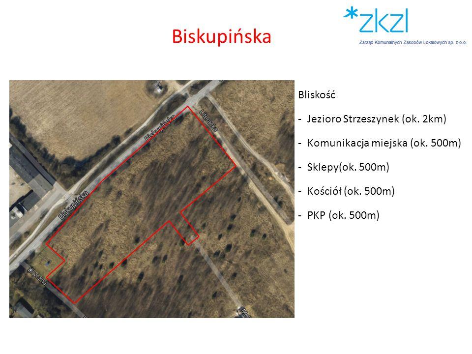Bliskość -Jezioro Strzeszynek (ok. 2km) -Komunikacja miejska (ok. 500m) -Sklepy(ok. 500m) -Kościół (ok. 500m) -PKP (ok. 500m) Biskupińska