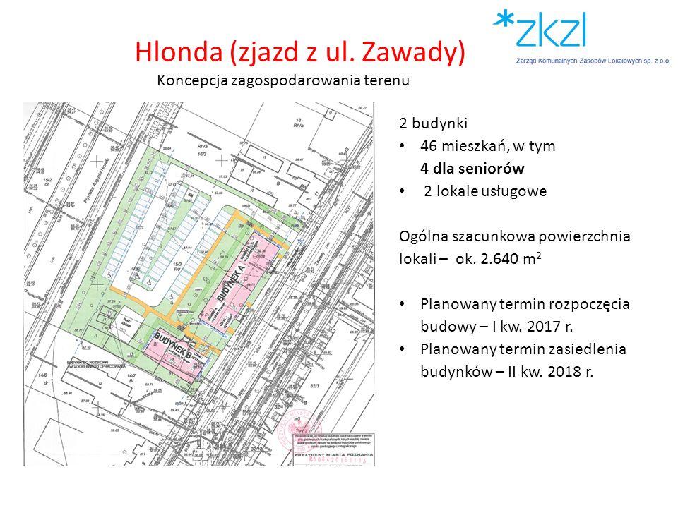 2 budynki 46 mieszkań, w tym 4 dla seniorów 2 lokale usługowe Ogólna szacunkowa powierzchnia lokali – ok. 2.640 m 2 Planowany termin rozpoczęcia budow