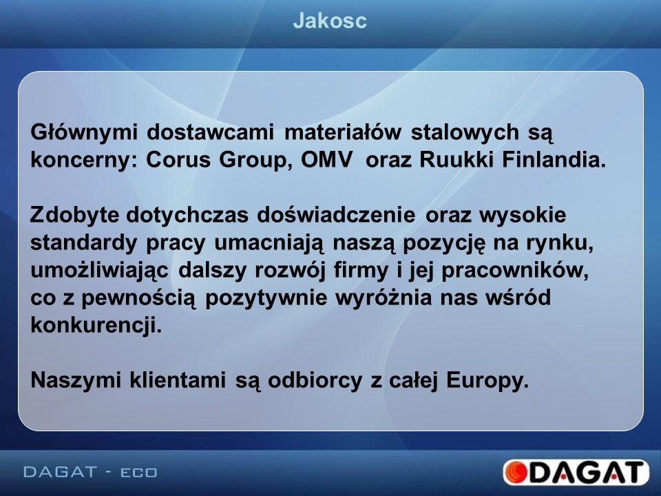 Głównymi dostawcami materiałów stalowych są koncerny: Corus Group, OMV oraz Ruukki Finlandia. Zdobyte dotychczas doświadczenie oraz wysokie standardy