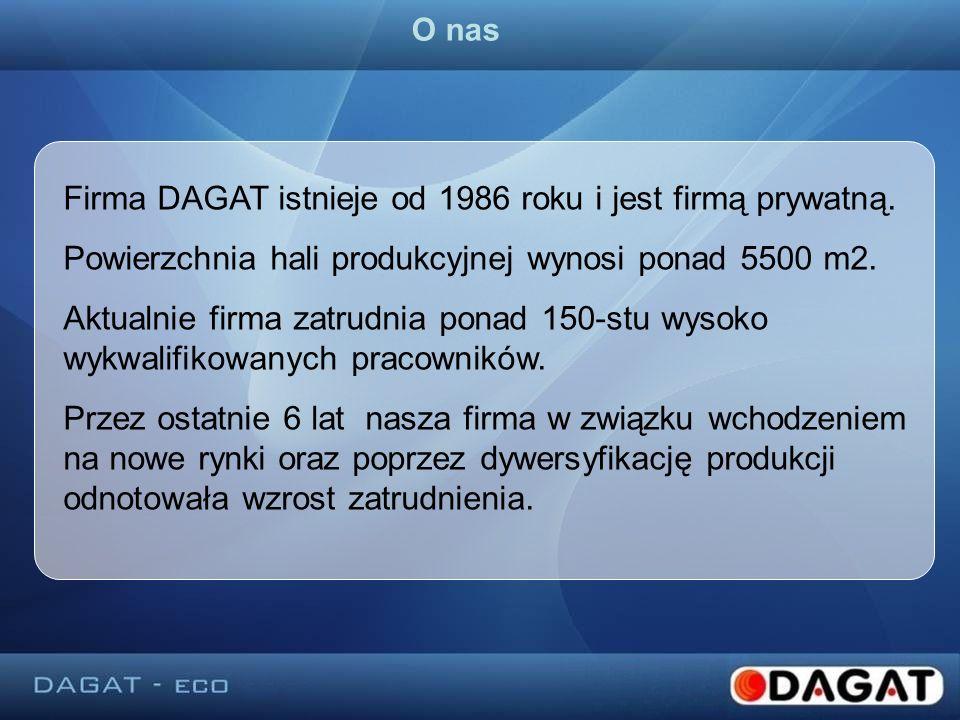 Firma DAGAT istnieje od 1986 roku i jest firmą prywatną. Powierzchnia hali produkcyjnej wynosi ponad 5500 m2. Aktualnie firma zatrudnia ponad 150-stu