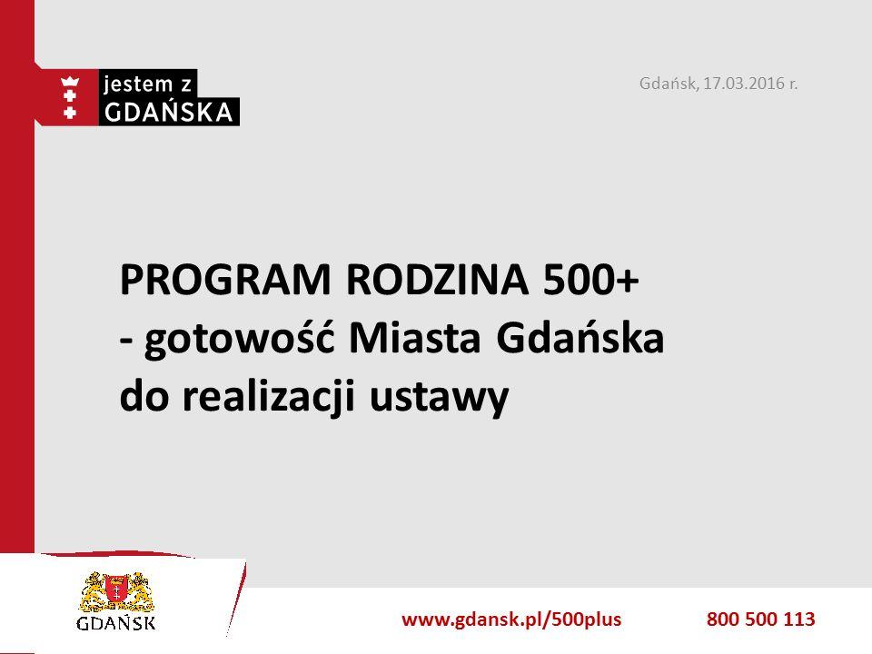 gdansk.pl PROGRAM RODZINA 500+ - gotowość Miasta Gdańska do realizacji ustawy Gdańsk, 17.03.2016 r.