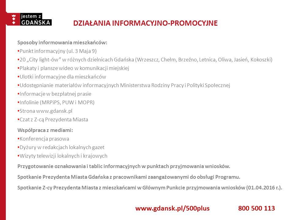 DZIAŁANIA INFORMACYJNO-PROMOCYJNE Sposoby informowania mieszkańców: Punkt informacyjny (ul.