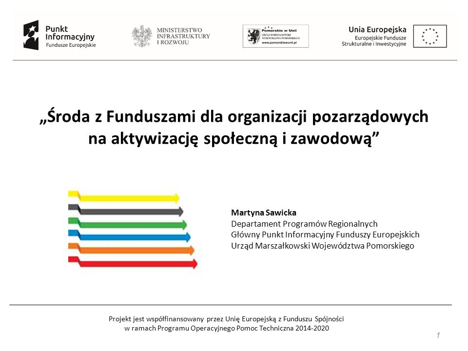 Projekt jest współfinansowany przez Unię Europejską z Funduszu Spójności w ramach Programu Operacyjnego Pomoc Techniczna 2014-2020 32 Typy projektów c.d.: c) wsparcie stanowiące zachętę do zatrudnienia, obejmujące m.in: pokrycie kosztów subsydiowania zatrudnienia, wyposażenie/doposażenie stanowiska pracy (wyłącznie w połączeniu z subsydiowanym zatrudnieniem), w tym w zakresie potrzeb osób z niepełnosprawnościami, finansowanie pracy asystenta osoby z niepełnosprawnościami.