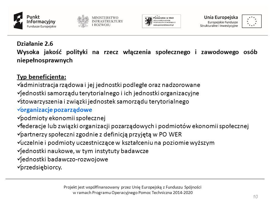 Projekt jest współfinansowany przez Unię Europejską z Funduszu Spójności w ramach Programu Operacyjnego Pomoc Techniczna 2014-2020 10 Działanie 2.6 Wy