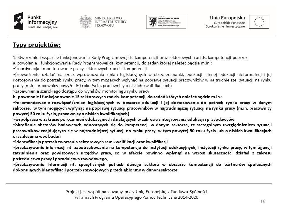 Projekt jest współfinansowany przez Unię Europejską z Funduszu Spójności w ramach Programu Operacyjnego Pomoc Techniczna 2014-2020 18 Typy projektów: