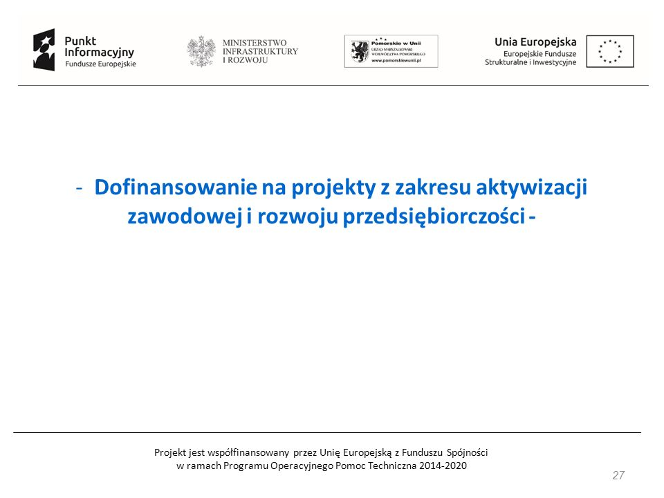 Projekt jest współfinansowany przez Unię Europejską z Funduszu Spójności w ramach Programu Operacyjnego Pomoc Techniczna 2014-2020 - Dofinansowanie na