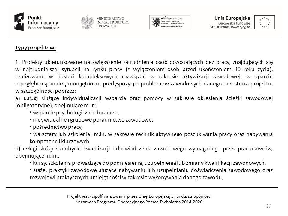 Projekt jest współfinansowany przez Unię Europejską z Funduszu Spójności w ramach Programu Operacyjnego Pomoc Techniczna 2014-2020 31 Typy projektów: