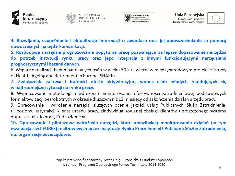 Projekt jest współfinansowany przez Unię Europejską z Funduszu Spójności w ramach Programu Operacyjnego Pomoc Techniczna 2014-2020 17 Działanie 2.12 Zwiększenie wiedzy o potrzebach kwalifikacyjno-zawodowych Typ beneficjenta: W odniesieniu do typu projektu nr 1b: organizacje pozarządowe lub związki organizacji pozarządowych samorząd gospodarczy i zawodowy partnerzy społeczni zgodnie z definicją przyjętą w PO WER przedsiębiorcy