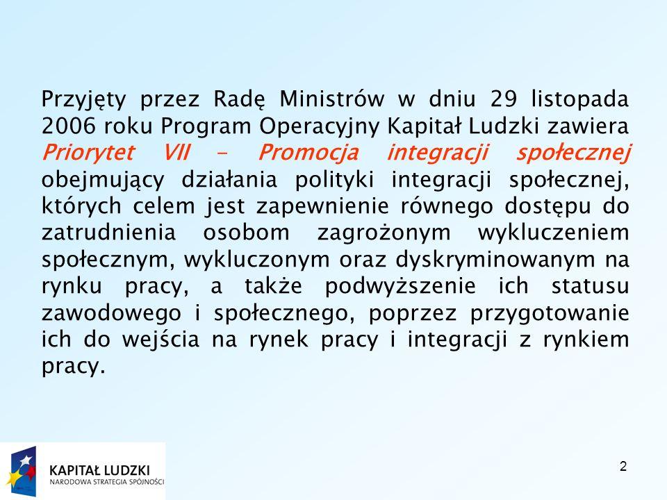2 Przyjęty przez Radę Ministrów w dniu 29 listopada 2006 roku Program Operacyjny Kapitał Ludzki zawiera Priorytet VII - Promocja integracji społecznej obejmujący działania polityki integracji społecznej, których celem jest zapewnienie równego dostępu do zatrudnienia osobom zagrożonym wykluczeniem społecznym, wykluczonym oraz dyskryminowanym na rynku pracy, a także podwyższenie ich statusu zawodowego i społecznego, poprzez przygotowanie ich do wejścia na rynek pracy i integracji z rynkiem pracy.